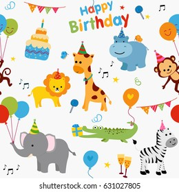 Colorful birthday party background with cute animals and birthday graphics.