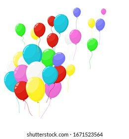 Colorful birthday party balloons flying on sky and isolate background vector