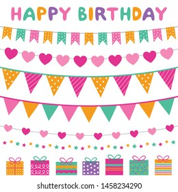 Colorful birthday party banners, vector set
