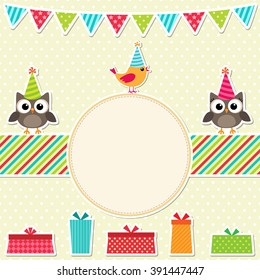 Colorful birthday party card with birds and presents
