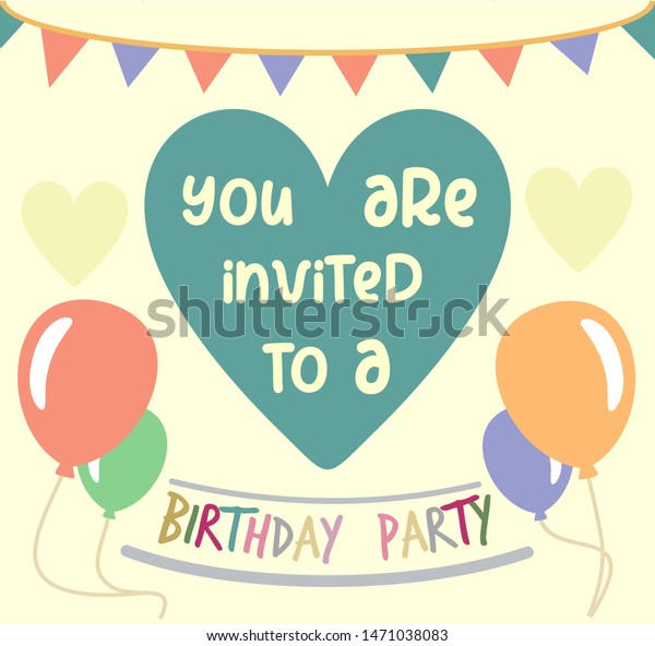 Colorful Birthday Party Invitation Card Template Stock