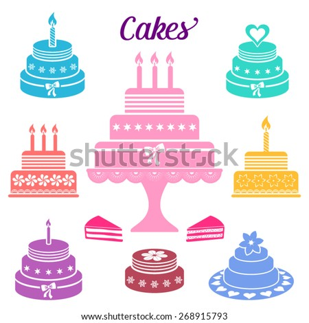 Colorful Birthday Wedding Cakes Vector Icons Stock Vector Royalty
