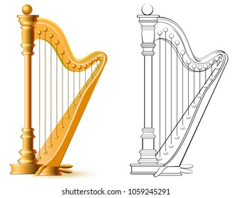 Colorful and black and white pattern for coloring. Illustration of harp. Worksheet for children and adults. Vector image.