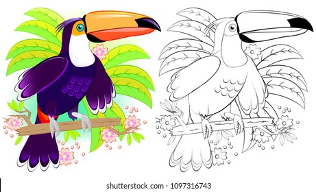Colorful and black and white pattern for coloring. Illustration of cute toucan. Worksheet for children and adults. Vector image.