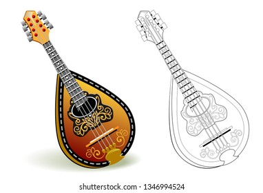 Colorful and black and white pattern for coloring. Illustration of stringed musical instrument mandolin. Worksheet for coloring book for children and adults. Vector image.