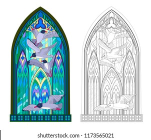 Colorful and black and white pattern of Gothic stained glass window with flying seagulls. Worksheet for children and adults. Vector image.