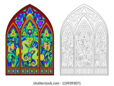Colorful and black and white pattern of Gothic stained glass window with beautiful underwater life. Worksheet for coloring book for children and adults. Vector image.