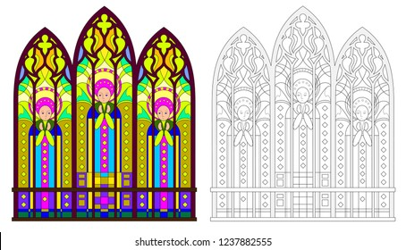 Colorful and black and white pattern of Gothic stained glass window with portraits of saints. Worksheet for coloring book for children and adults. Vector image.