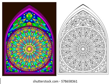 Colorful and black and white pattern of Gothic stained glass window with rose, vector cartoon image.