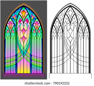 Colorful and black and white pattern of Gothic stained glass window. Worksheet for children and adults. Vector image.