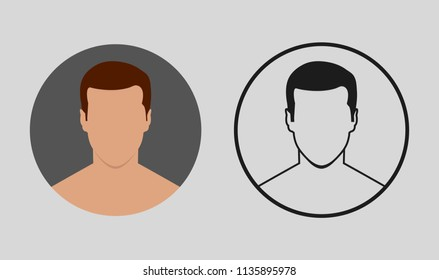 Colorful and black young man shirtless avatar character icon
