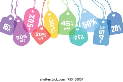 Colorful blank price tags or address labels with various string tying on white background