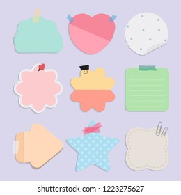 Colorful blank reminder notes vector set