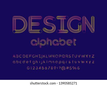 colorful blend alphabet design with uppercase and lowercase, numbers and symbol
