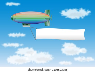 Colorful blimp in flight drawing a blanc banner