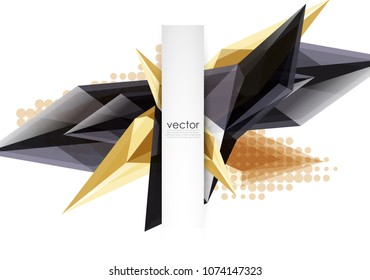 Colorful blooming crystals vector abstract background. Glass transparent effect shiny triangular forms