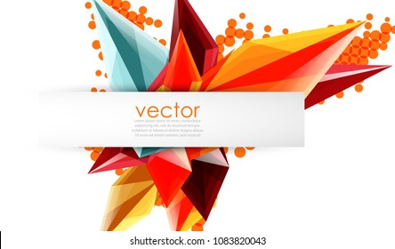 Colorful blooming crystals vector abstract background. Glass transparent effect shiny 3d triangular forms
