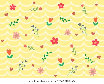 Colorful blooming flower, green leaf and red heart on pastel yellow and white wave or curve background. Sweet and beautiful vector pattern for Valentine wallpaper and so fresh in botanicals concept.