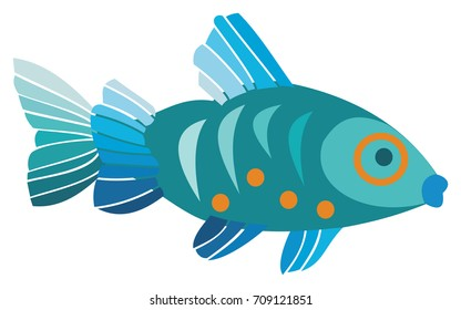 Colorful Blue Fish
