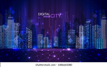 Colorful blue panorama of a Digital City at twilight with illuminated skyscrapers and office blocks in the CBD with text in a vector illlustration