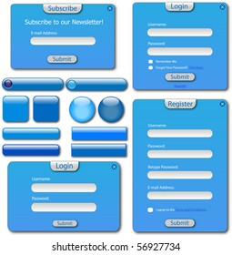 Colorful blue web forms and buttons.