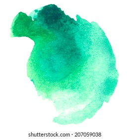 colorful blue-green watercolor stain with aquarelle paint blotch