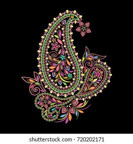 Colorful bohemian pattern with paisley and flowers. Traditional ethnic ornament. Object isolated on black background. Vector print.