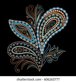 Colorful bohemian pattern with paisley and leaves. Traditional ethnic ornament. Vector print.