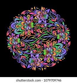 Colorful bohemian round pattern with leaves and flowers. Traditional ethnic ornament.  Vector print.