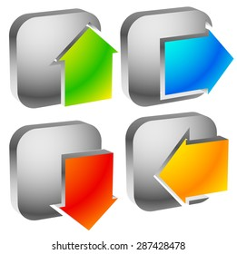 Colorful bold arrow icons. Arrows pointing to every direction. Left, right, up, down arrows. (Vector)