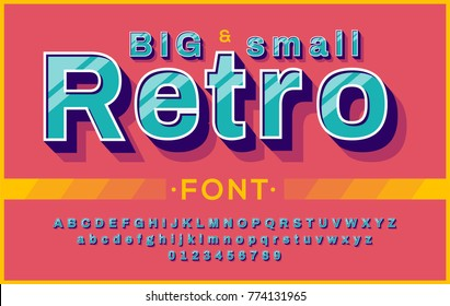 Colorful bold retro font 90's, 80's. Vector abc alphabet