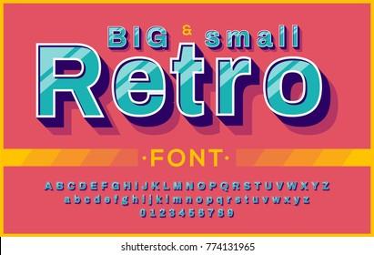 Retro Font 90's, 80's. typography design, Simple Bold Style. Vector abc alphabet