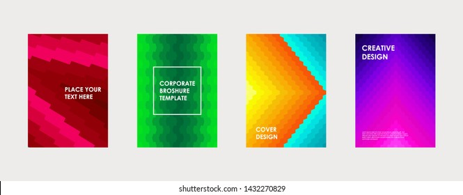 Colorful book cover design. Poster, corporate business annual report, brochure, magazine, flyer mockup. Green, violet, pink, blue, orange a4 template. Halftone gradients. Geometric pattern. Vector.