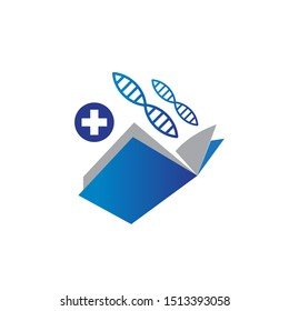 Colorful book with medical cross health and helix dna illustration graphic logo design inspiration