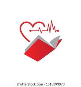 Colorful book with red heart and medical heartbeat illustration graphic logo design inspiration