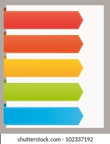 Colorful bookmarks banners for titles. Vector template set.
