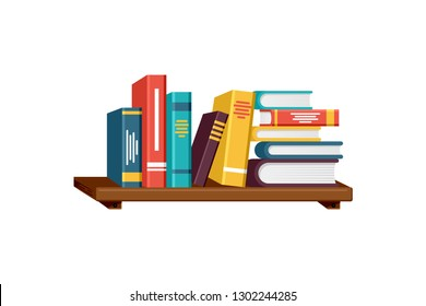 Colorful books collections vector illustration on bookshelves with white background