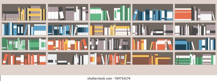Colorful books on shelves in the library, learning and education concept