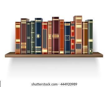 Colorful books on the wood shelf