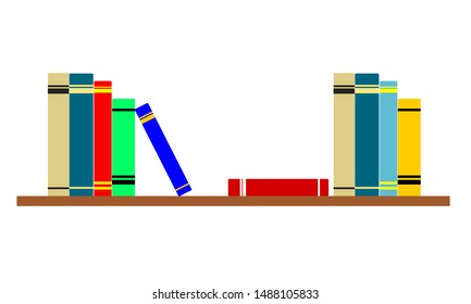 Colorful books sitting on a bookshelf