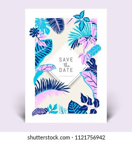 Colorful botanical invitation card template design, hand drawn tropical plants in pink, purple and blue tones