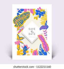 Colorful botanical invitation card template design, hand drawn tropical plants in pink, yellow and blue tones