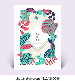 Colorful botanical invitation card template design, hand drawn tropical plants in green, dark blue and red tones
