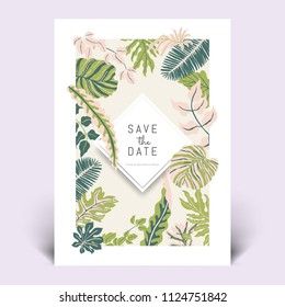 Colorful botanical invitation card template design, hand drawn tropical plants in light green, dark green and pink tones