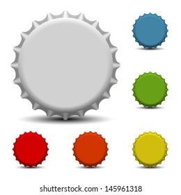 Colorful bottle caps vector