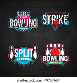 Colorful bowling logo design template, badge, emblem on grey background