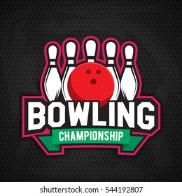 Colorful bowling logo design template,badge, emblem on grey background