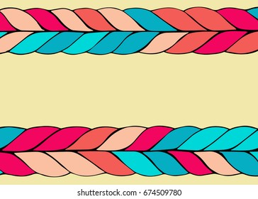 colorful braid hair vector pattern background, place for text