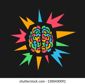 Colorful brain because of psychedelics and hallucinogenic substance, epilepsy and epileptic seizure, creative mind, hyperactivity, insanity. Vector illustration