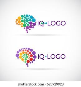 Colorful brain logo made of circles. Brain logo design template.